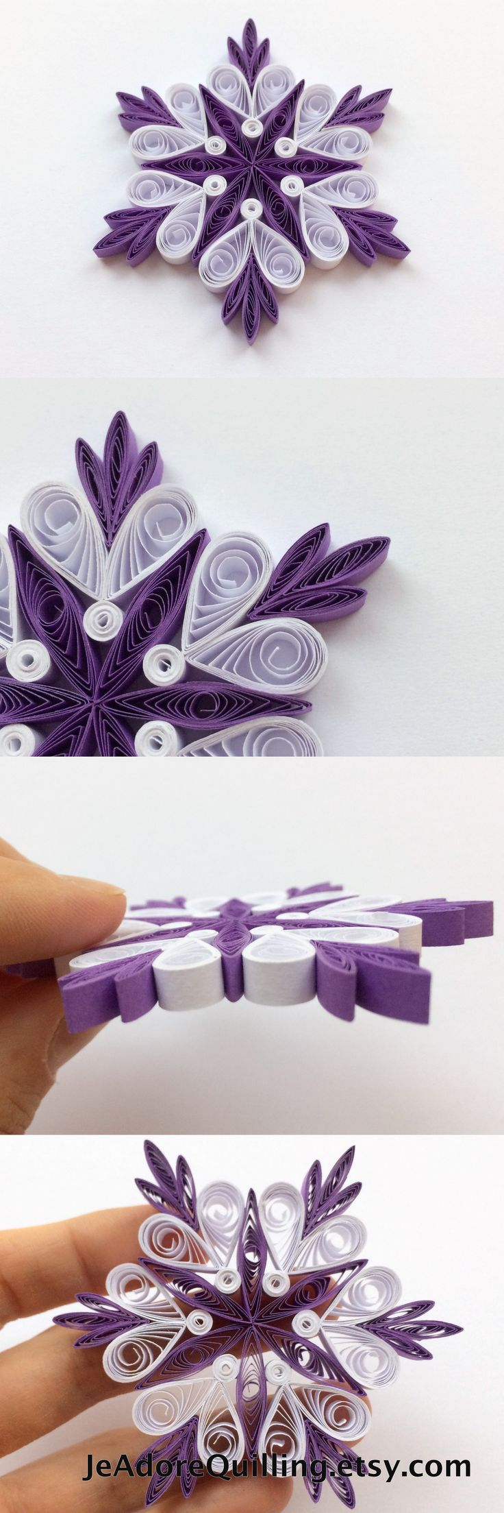 Snowflakes Violet White Christmas Tree Decor Winter Ornaments Gift Toppers Fillers Office Corporate Paper Quilling Quilled Handmade Art
