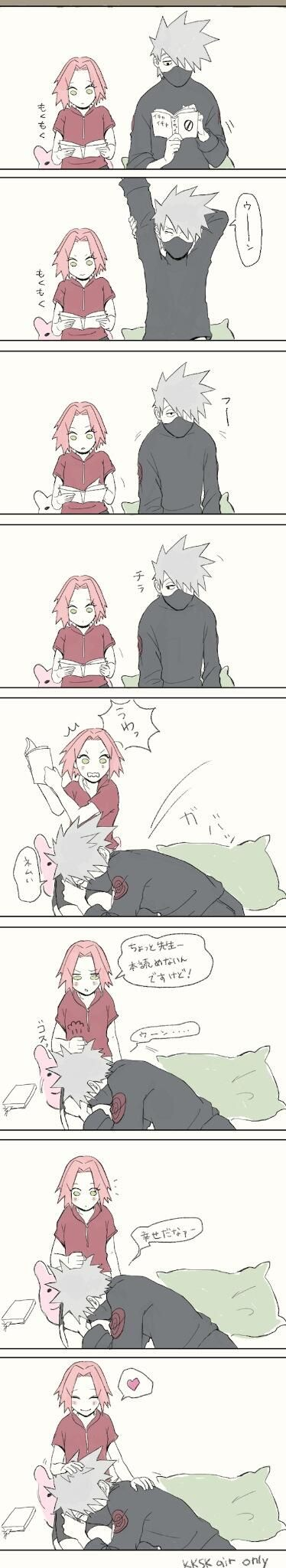 Kakashi and Sakura. I've never shipped these two but I thought this was cute. Couldn't help myself.
