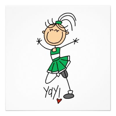 Green Stick Figure Cheerleader t-shirts and Gifts Invite