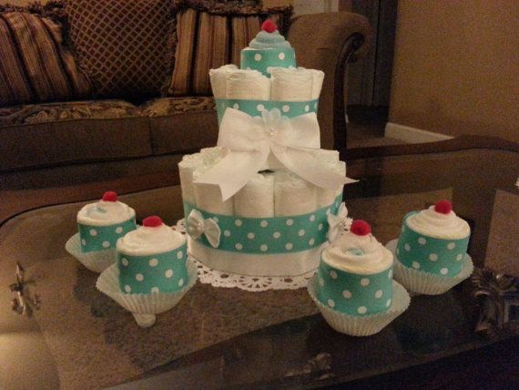 Baby Boy Diaper Cake- With Cupcakes Made Out Of Pampers And Washcloths, baby boy diaper cake set