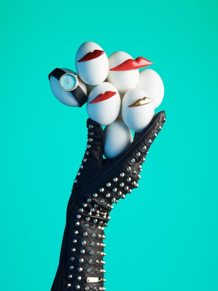 Dior watch, Sonia Rykiel brooches, Burberry gloves. Styling by Rhianna Rule. Photo by Bela Borsodi (via Bullett).