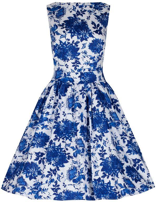 Little Wings Factory Blue Willow Floral Tea Dress £40