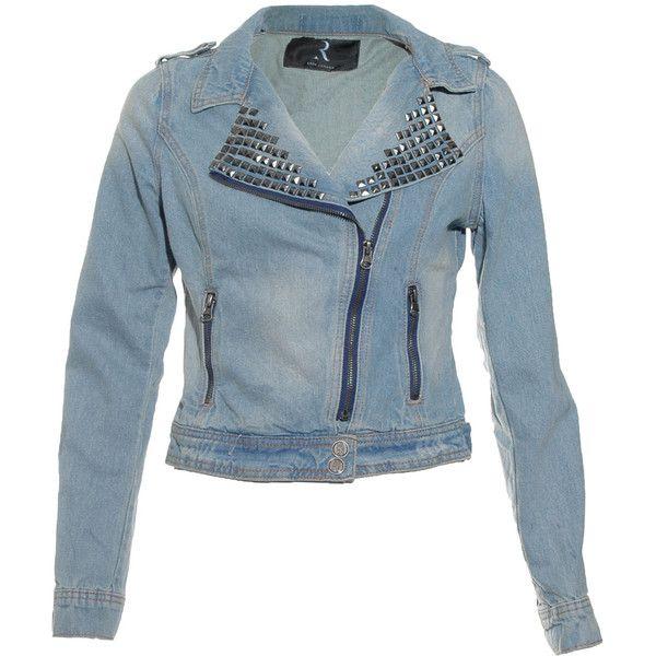 Rare London Studded Zip Denim Jacket ($81) ❤ liked on Polyvore