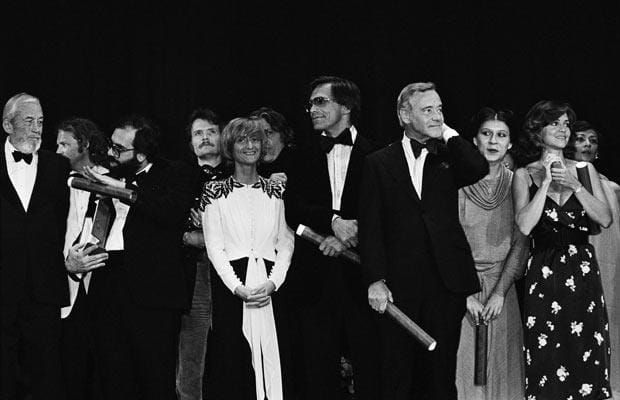 Closing of the 32nd Cannes Film Festival in 1979: (left to right) John Huston, Francis Ford Coppola, awarded the Palme d'Or for Apocalypse Now, Stefano Madia, winner of best supporting actor for Caro Papa, president of the jury Francoise Sagan, Andrei Konchalovsky, awarded the Grand Prix for Siberiada, Jack Lemmon, best actor for The China Syndrome, Eva Mattes, awarded best supporting actress for Woyzeck, and Sally Field, winner of best actress for her role in Norma Rae