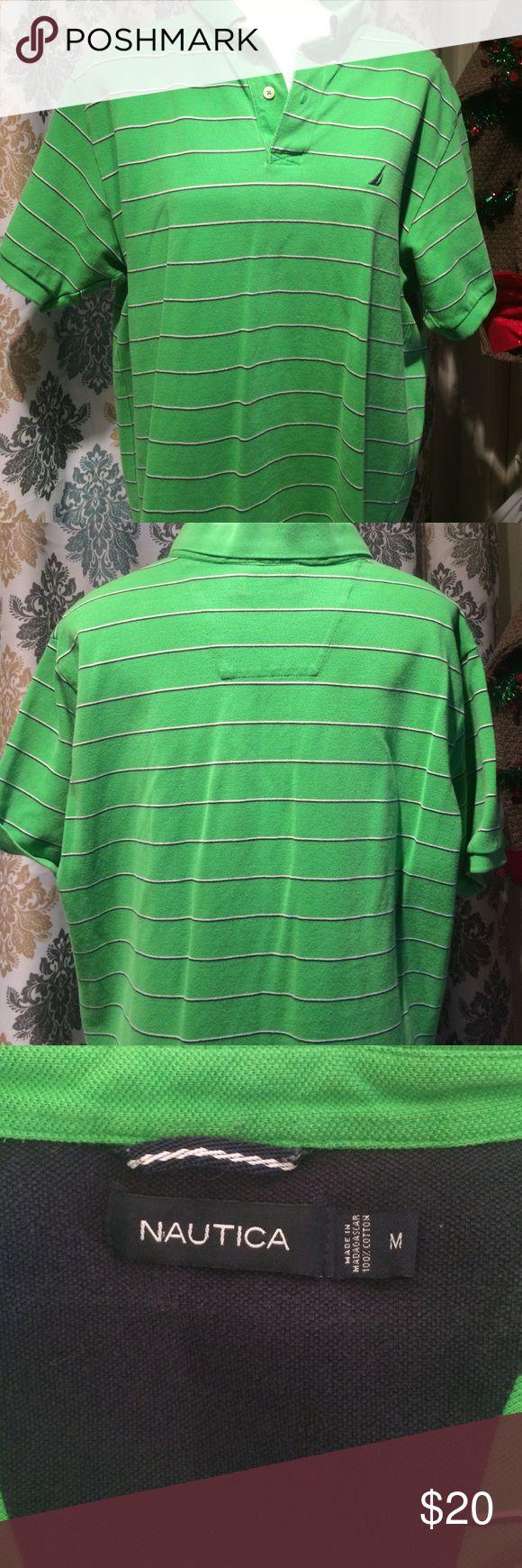 Nautica polo shirt Nautica green polo shirt with black & white stripes. Good condition. Nautica Shirts Polos