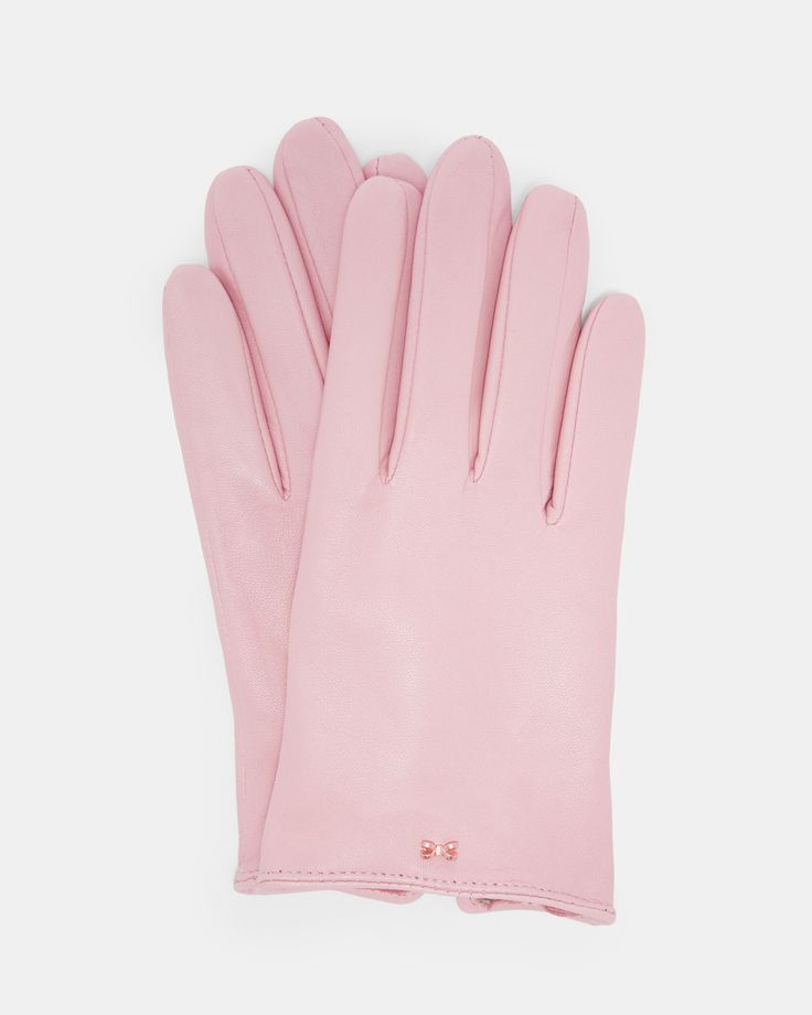 Ted Baker Bow detail leather glove Light Pink