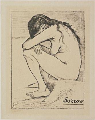 Vincent van Gogh (Dutch, 1853–1890).   Sorrow, November 1882, Lithograph  -  MoMa