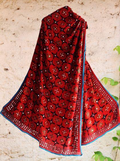 Shop Online #Handembroidered #phulkari red #dupatta #reddupatta #phulkaridupatta
