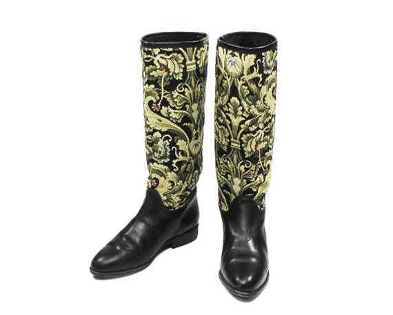 Seychelles Vintage 1990s Low Heel Boots Baroque Tapestry