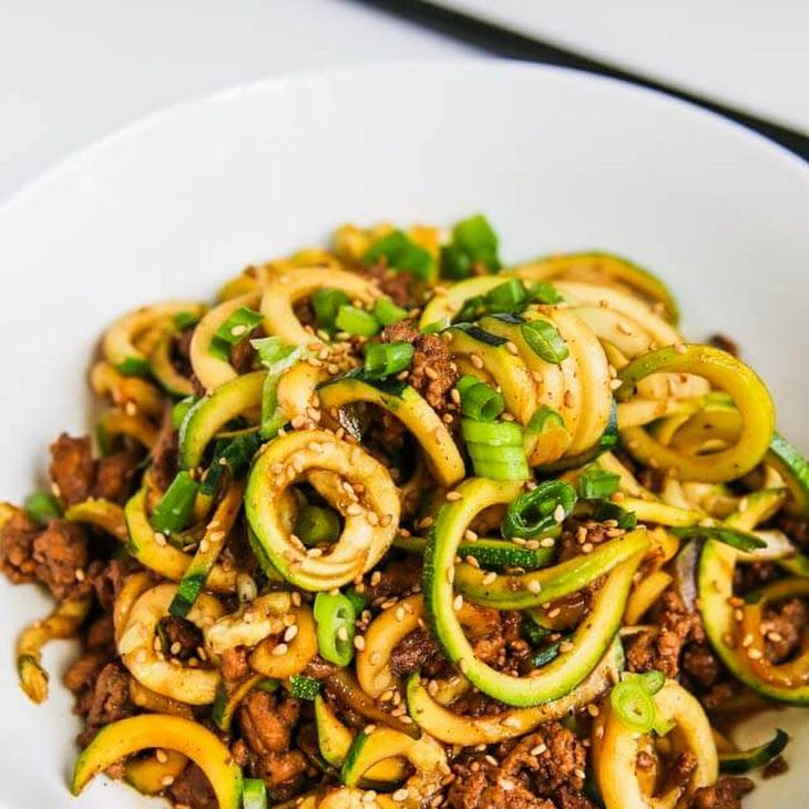 Chinese Five Spice Ground Turkey Zucchini Noodles Recipe Main Dishes with grapeseed oil, ground turkey, gluten free soy sauce, organic sugar, chinese five-spice powder, water, zucchini noodles