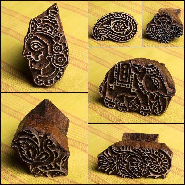 Hand Carved Teak Wood Blocks For Block Printing By Gangadhar