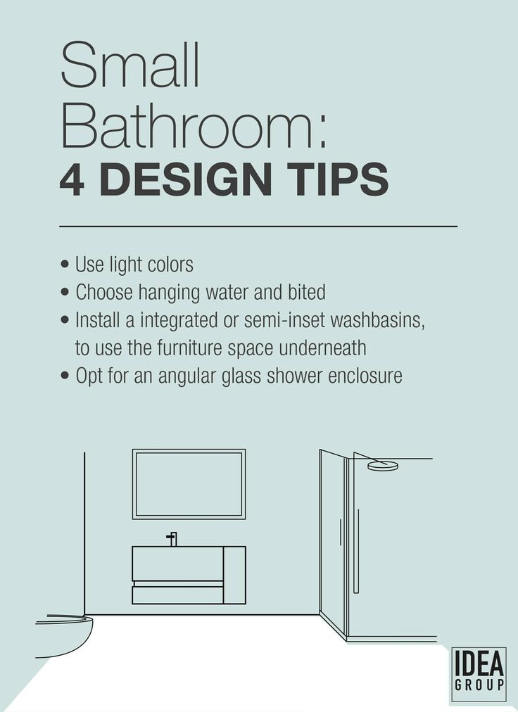 A small bathroom is usually problematic: too little space for storage and movement. Today we're giving you some tips on how to make it look bigger: what would you add to these? #infographic #design #furniture #tutorial #tips