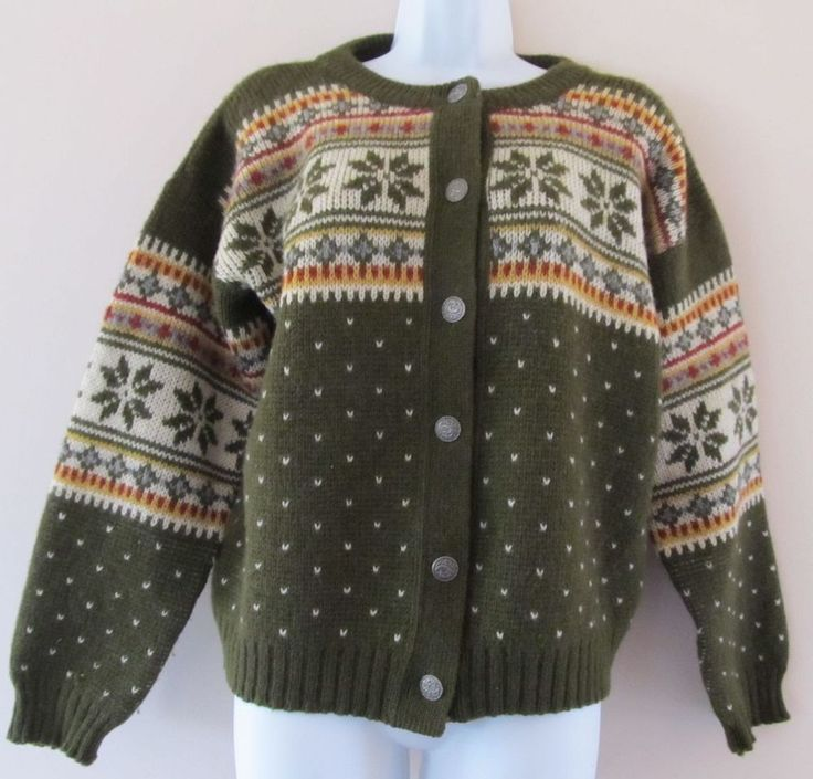 Kaare Giose Norway Norwegian Wool Fair Isle Nordic Cardigan Sweater Sz L #KaareGiose #Cardigan
