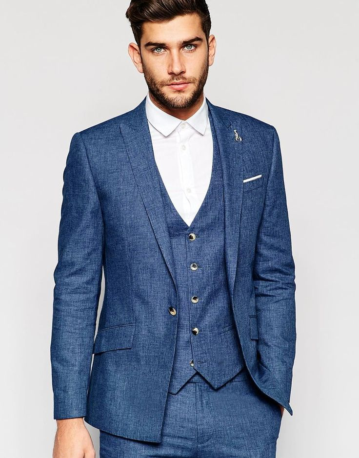 River Island Suit Jacket In Linen In Blue