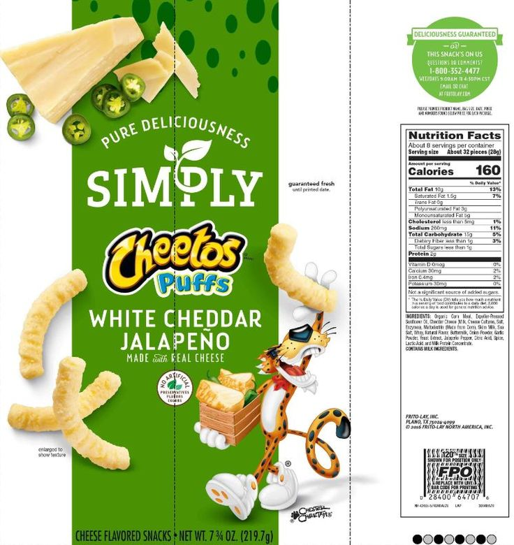 The updated Nutrition Facts label emphasizes calorie information by providing it in bold, as seen on Simply Cheetos Puffs White Cheddar Jalapeno Made with Real Cheese. Image courtesy of Label Insight.