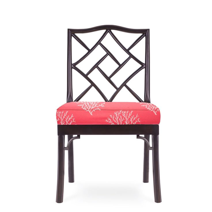 James Chinese Chippendale Side Chair, Black Finish, Coral With White Coral Fabric