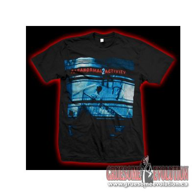 This Shirt from the Movie Paranormal Activity 2, is of one of the Posters which has a picture of the Baby in its crib with a Ghost in the room.