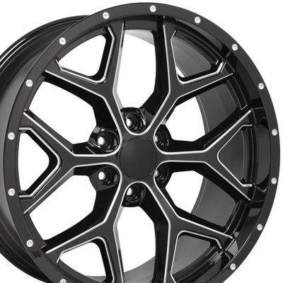 CV98 22-inch milled edge black deep dish wheel set fits Chevy Silverado