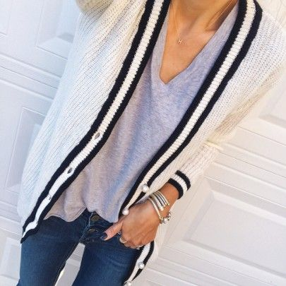 On a real cardi kick + this varsity one with Pearl buttons is just perfect my tee is $24 and the perfect basic. You can shop the look from the LTK app by screenshotting/liking this photo or simply click the direct link in my profile // @liketoknow.it - http://liketk.it/2sMF9 #liketkit #LTKunder50 #LTKunder100