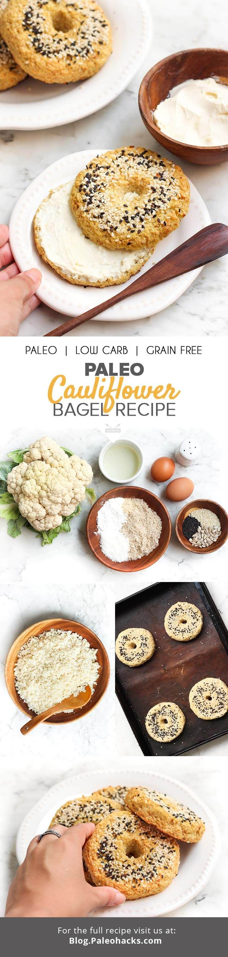 This Paleo Cauliflower Bagel recipe makes an amazing gluten-free alternative to wheat bagels. Top them with smoked salmon, sliced avocado, or chia jam. The possibilities are endless! Get the recipe here: http://paleo.co/caulibagels