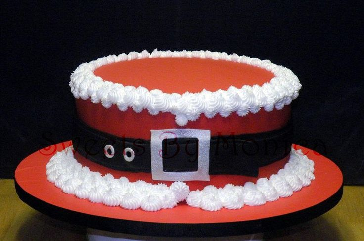 Ho! Ho! Ho! round cake pan ..then you could pipe the belt on rather than make fondant