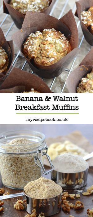 Banana and walnut breakfast muffins – Delicious and easy to make, with no refined sugar or added fat.