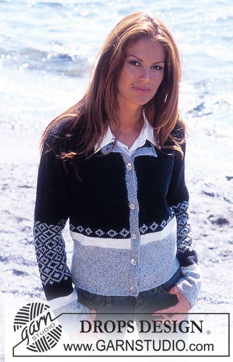 """DROPS Vest met traditionele Noorse Motieven van """"Silke-Tweed"""". Maat S - XXL."""