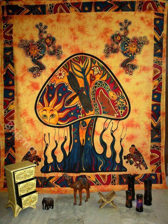 Mushroom Frog wall hanging indian tapestry by BhismaClothings