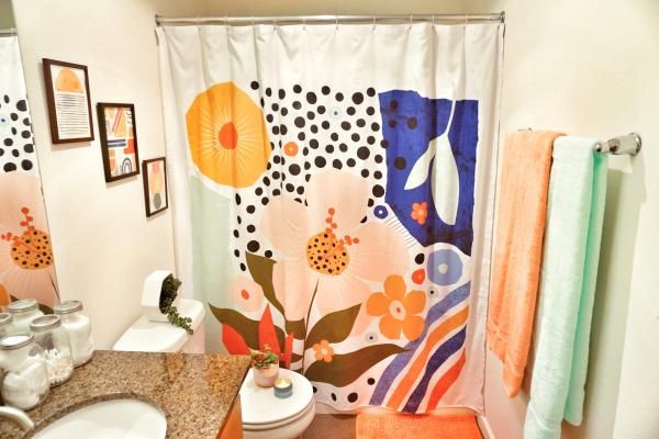 exploded graphic shower curtain room