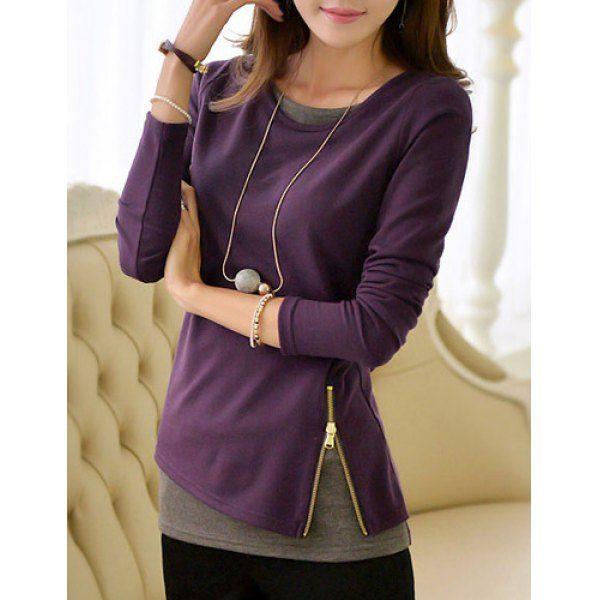 Elegant Scoop Neck Long Sleeve Faux Twinset Design Knitwear For Women