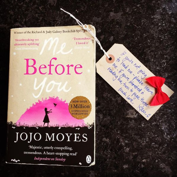And Sam left his very own copy of <i>Me Before You</i> at a location in central London for some lucky fan to find...