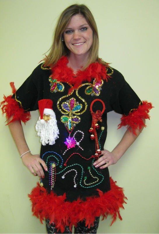 3D ugly Christmas sweaters, women ugly Christmas 3D Santa dress sweater ,  Tinsel ugly Christmas jumper 3D ugly Chris\u2026