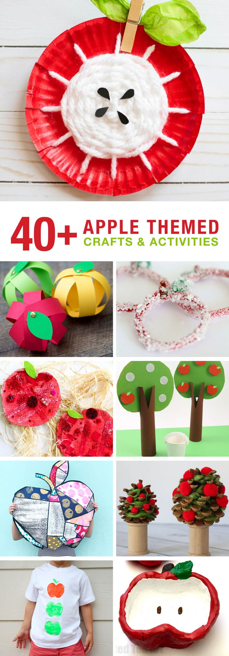 Apple themed crafts and activities for kids to get them creating, learning and playing