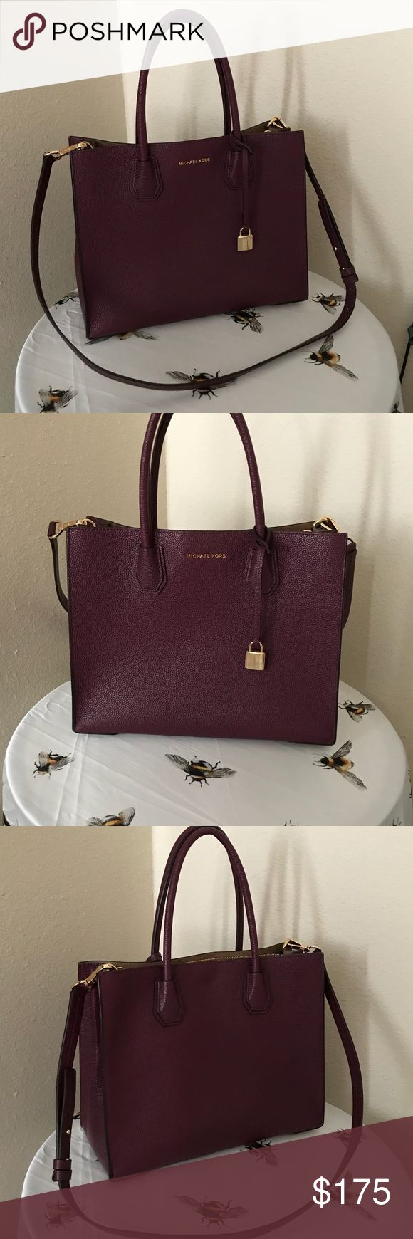 """Michael Kors Mercer Large Convertible Tote, Plum Like new Michael Kors Studio Mercer tote! Pebble leather; unlined Gold hardware Large sized bag; 11-1/4""""W x 8-1/2""""H x 5""""D 4-1/4""""L double handles; 22""""-25""""L adjustable strap Open top 1 interior zip pocket, 1 open pocket & 1 center zip divider pocket with lining No noticeable scratches or stains, both outside and inside the bag Comes with duster bag Michael Kors Bags Totes"""