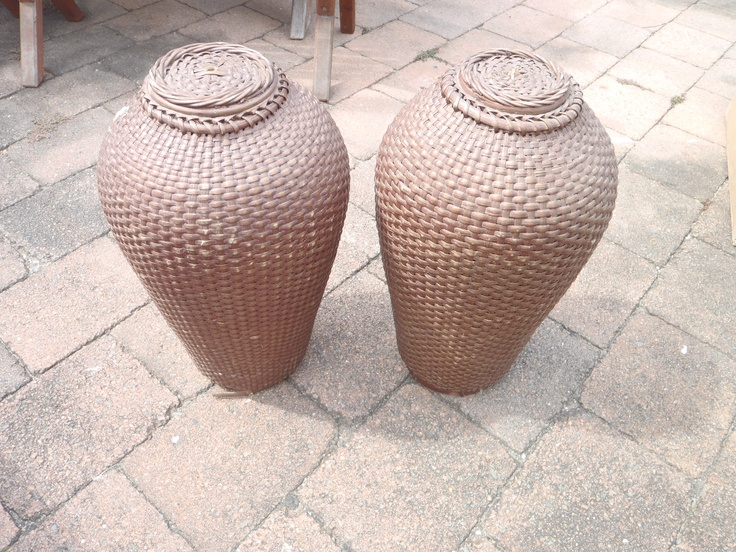 Pair of woven cane Lamp Bases