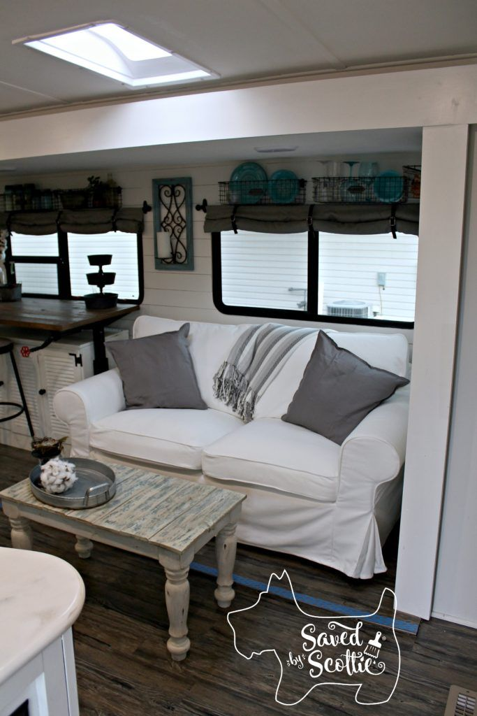 Rv Remodel The Finished Product With Images Rv Living Room