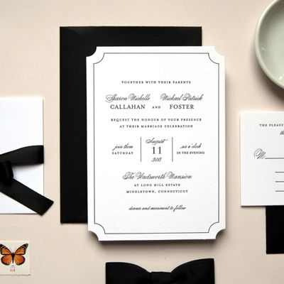 Black and White Letterpress Invitation | Kimberly FitzSimons | Kimberly FitzSimons