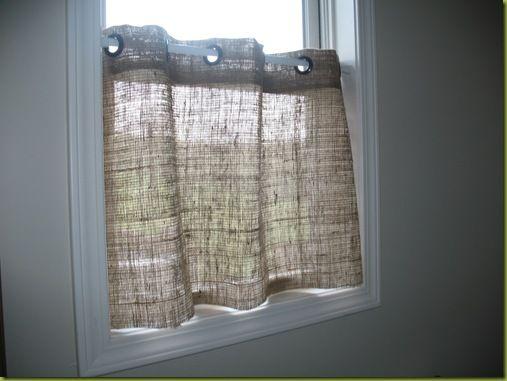 DIY burlap cafe curtain - Just a Girl