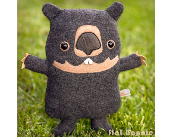 Wombat stuffed animal, Handmade plush soft toy doll, Cute wombat plushie, Kawaii wombat baby softie, Australia wildlife gift, Flat Bonnie