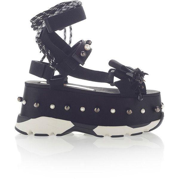 No. 21     Neoprene Platform Sandal (€850) ❤ liked on Polyvore featuring shoes, sandals, platform sandals, neoprene shoes, flatform platform shoes, bow platform sandals and flatform sandals