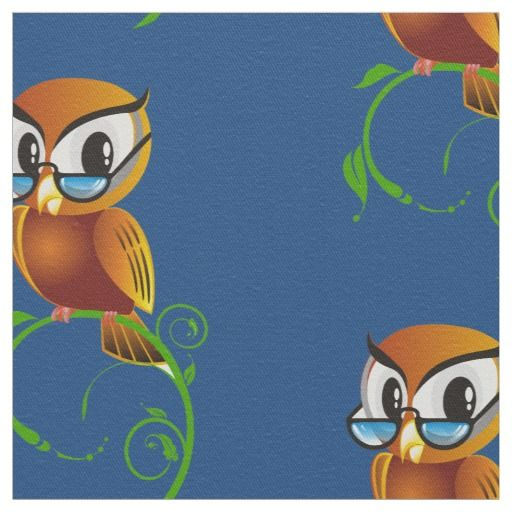 Owl with glasses cartoon fabric
