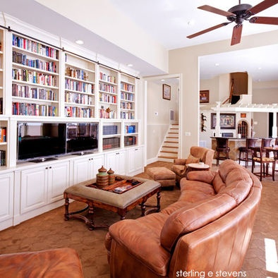 Raleigh Traditional Family Room Library Ladder Design, Pictures, Remodel, Decor and Ideas