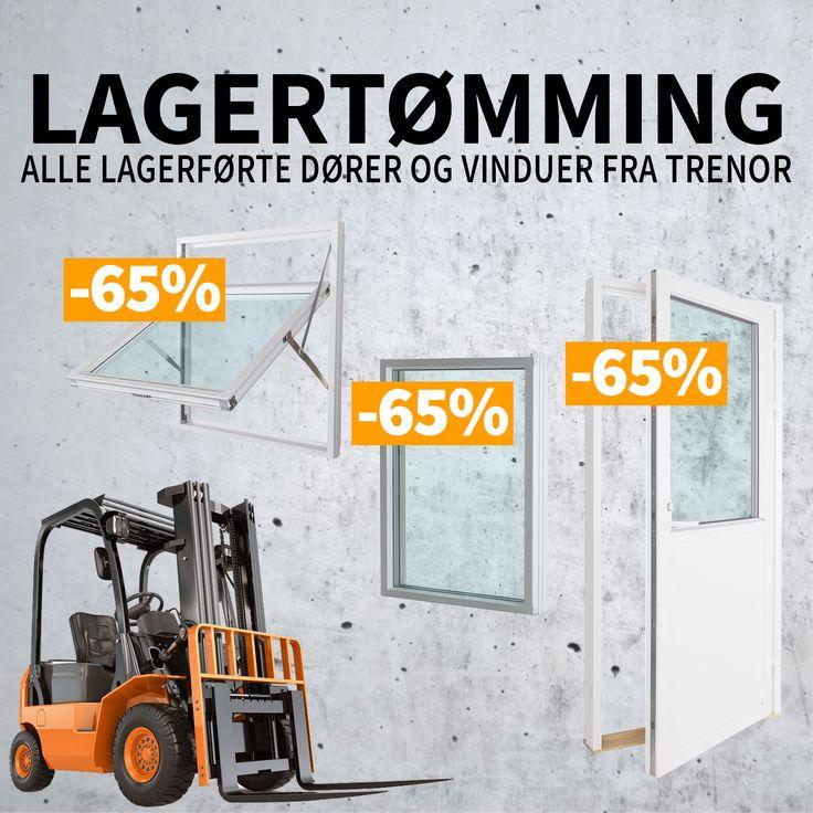 Lagertømming for Trenor. Se fantastiske priser på vinduer og balkongdører.  Kun frem til 15. oktober ELLER så lenge lageret rekker.
