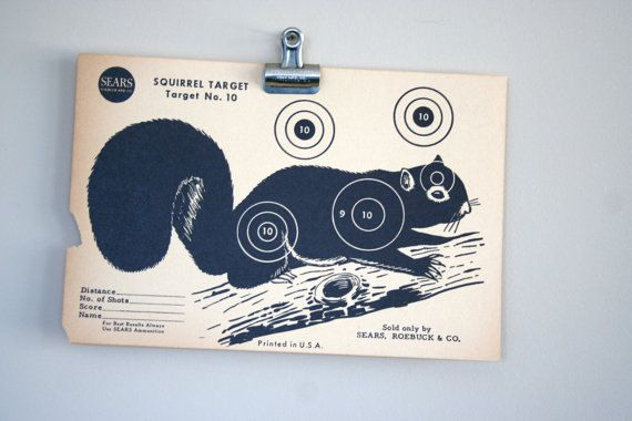 vintage paper shooting target - squirrel - free gift with 20 dollar target purchase. $10.00, via Etsy.