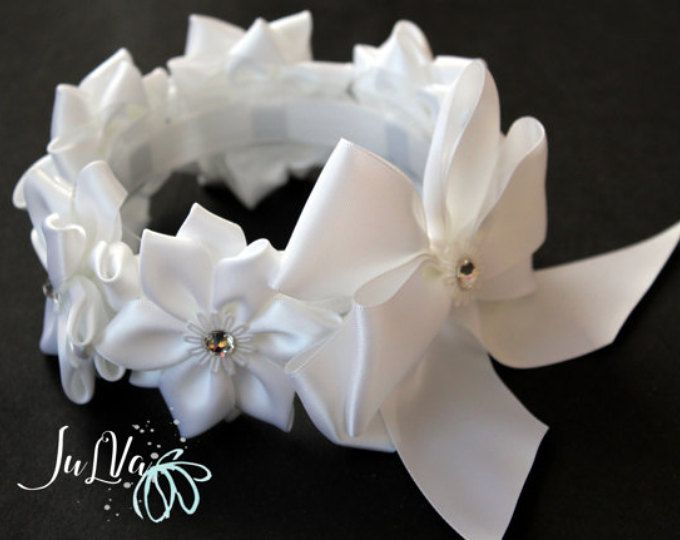 White Kanzashi Hair Bun Wrap. Flower Crown Bun Wrap. White