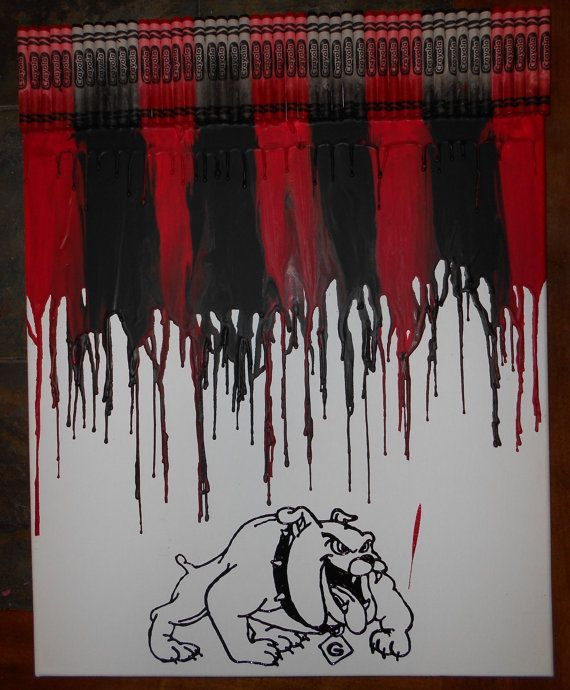 Georgia Bulldogs Melted Crayon Painting by OnceUponACrayon on Etsy, $35.00