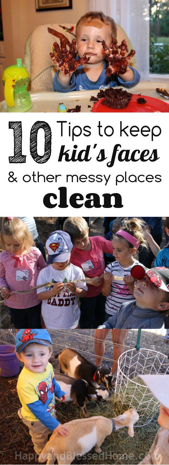 10 Tips to Keep Kid's Faces and Other Messy Places Clean from HappyandBlessedHome.com How to keep kid's hands, faces, bottoms, strollers, kitchens, eat-in-areas, place settings, art tables, and other places clean. #TripleClean #ad | Clean Kids | Clean Home | Clean Car @Huggies
