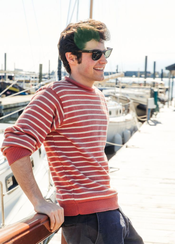 Kiel James Patrick - Sea Weather Sweater | KJP red striped sweater summer New England