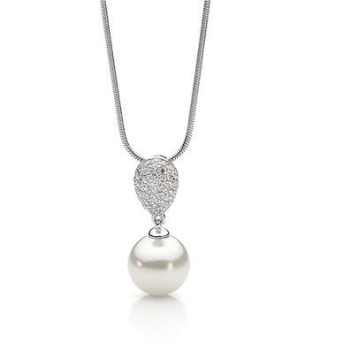 Silver and Some - Georgini Necklace, Pave and White Pearl Drop.   Pave and White Pearl Drop Our Pave and White Pearl Pendant is a 24mm drop and has a 10mm shell based pearl. It comes on a 46cm chain. (chain displayed may differ from actual necklace) Each Georgini piece is crafted in 925 sterling silver with rhodium plate.