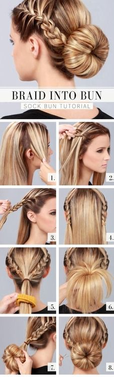 French braid into regular braid into a perfect bun! (a sock will be used)